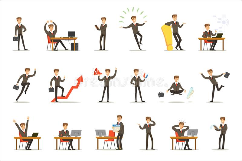 Businessman Work Process Set Of Business Related Scenes With Young Entrepreneur Cartoon Character. Manager In Suit Working In The Office And Out Of It In vector illustration