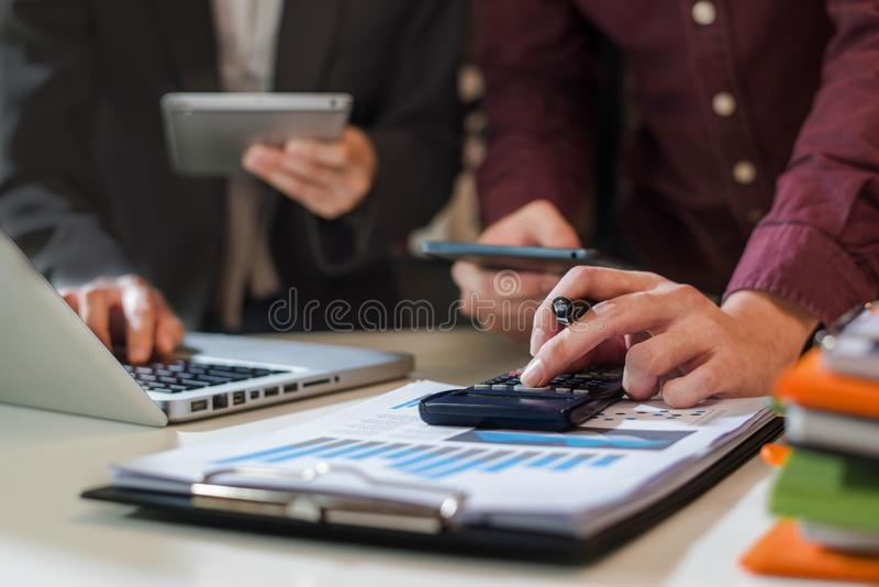 Businessman working as a team start meeting the new marketing project plan. royalty free stock photo