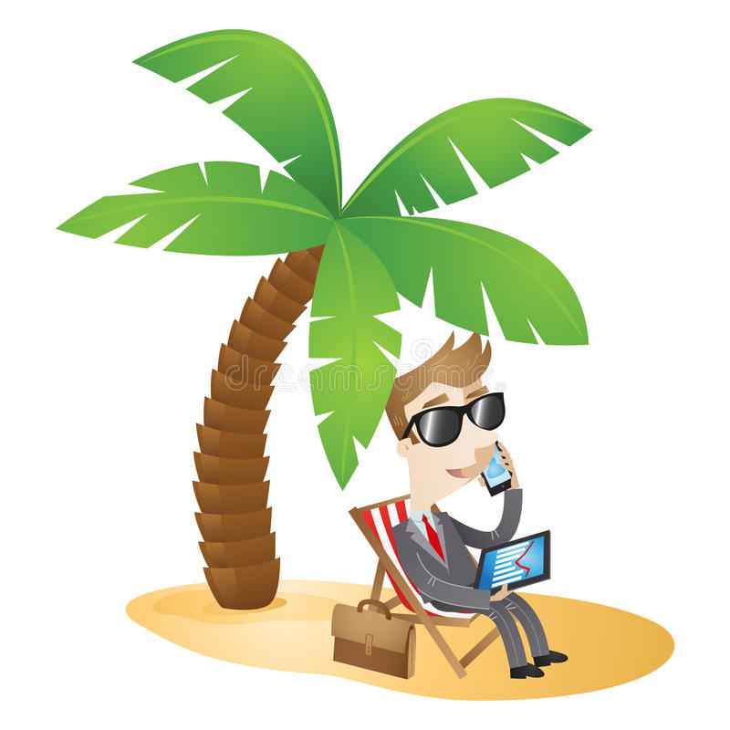 Businessman working beach vacation. Vector illustration of a cartoon character: Businessman sitting in a chair on the beach working and talking on the phone royalty free illustration