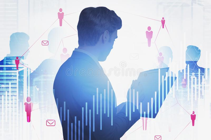 Man with clipboard, HR icons in city. Businessman working with clipboard in modern city with double exposure of business people and social network icons. Concept royalty free stock photos