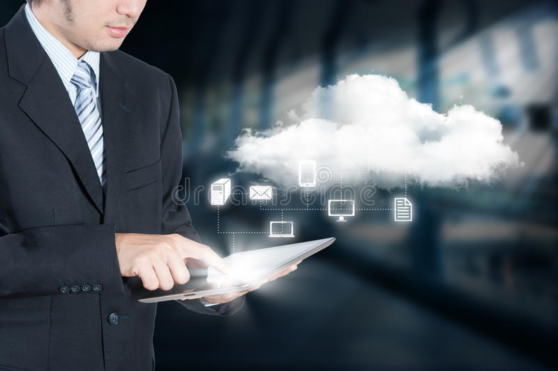 Businessman working on cloud computing. Business security concept stock images
