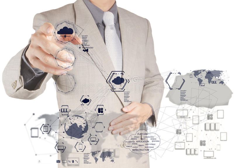 Businessman working with a Cloud Computing diagram. Businessman hand working with a Cloud Computing diagram on the new computer interface royalty free stock photography