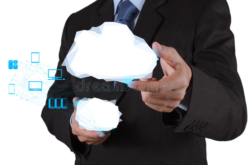 Businessman working with a Cloud Computing diagram on the new co. Mputer interface stock photography