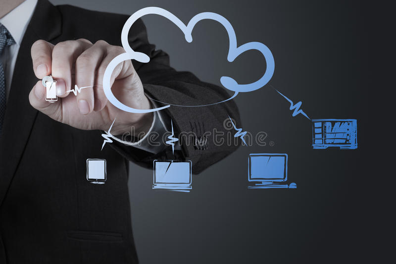 Businessman working with a Cloud Computing diagram on the new co. Businessman hand working with a Cloud Computing diagram on the new computer interface as royalty free stock images