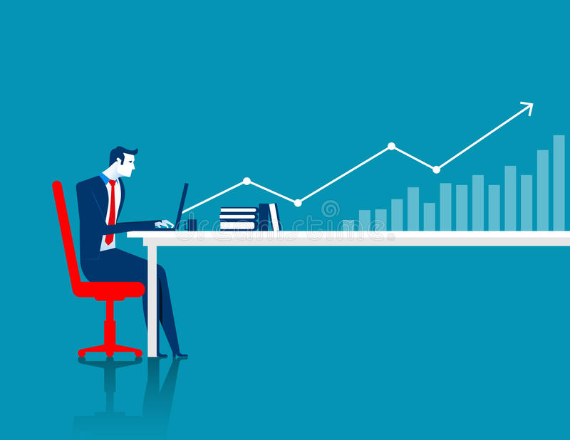 Businessman working at computer with arrow and chart. Concept business illustration. Vector flat royalty free illustration