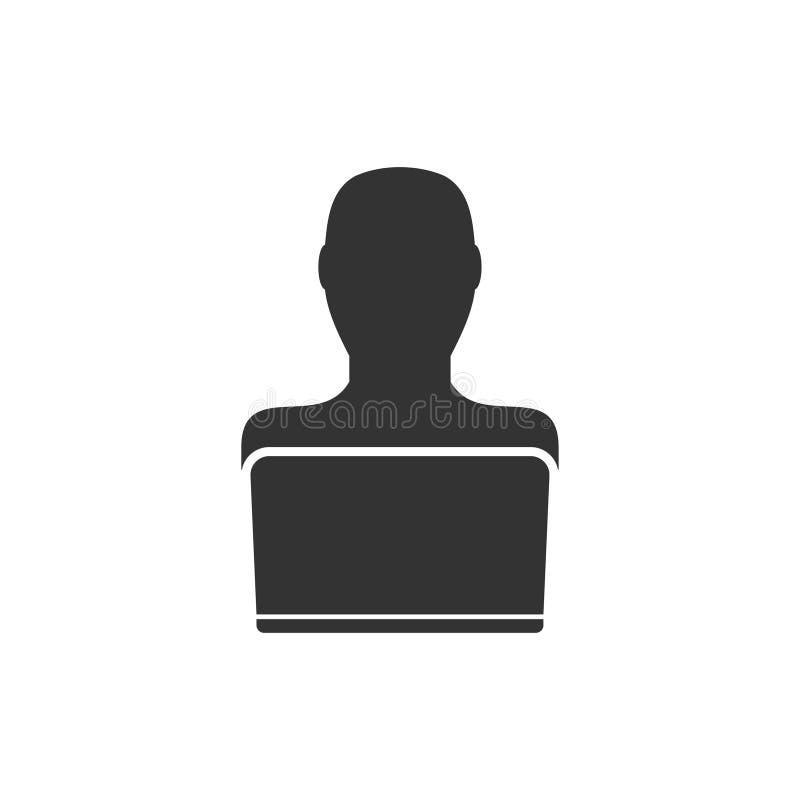 Businessman Working on Computer icon flat royalty free illustration