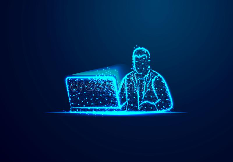 Businessman working on computer icon from lines, triangles and particle style design. Businessman working on computer icon from lines, triangles and particle vector illustration