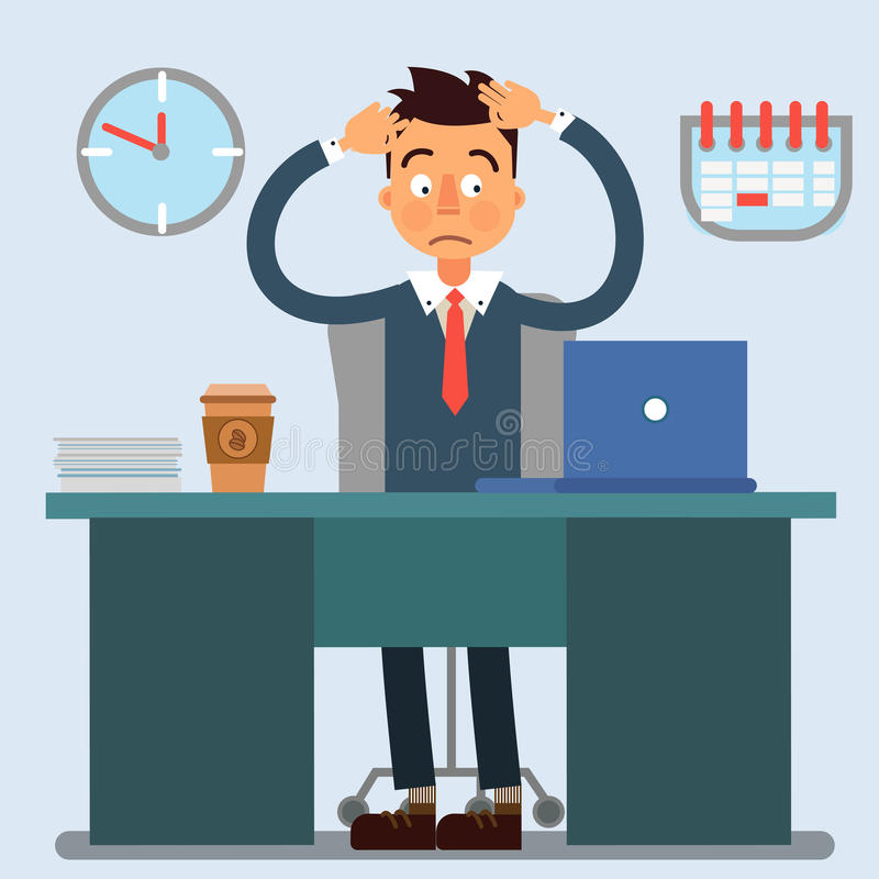 Businessman Working Day. Businessman at Work. Office Life. Shocked Businessman. Vector illustration stock illustration