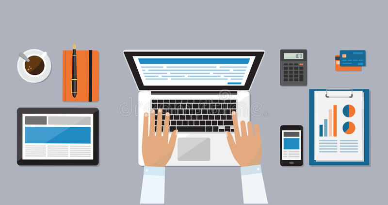 Businessman working at desk. Businessman working at office desk and typing on a laptop vector illustration