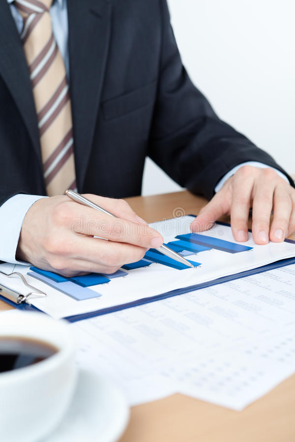 Businessman Working With Diagrams Royalty Free Stock Photography