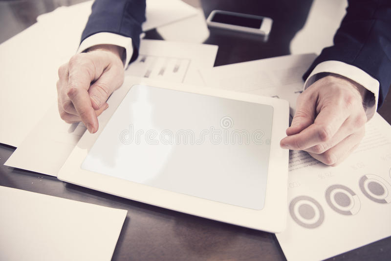 Businessman working with digital tablet at office royalty free stock photography