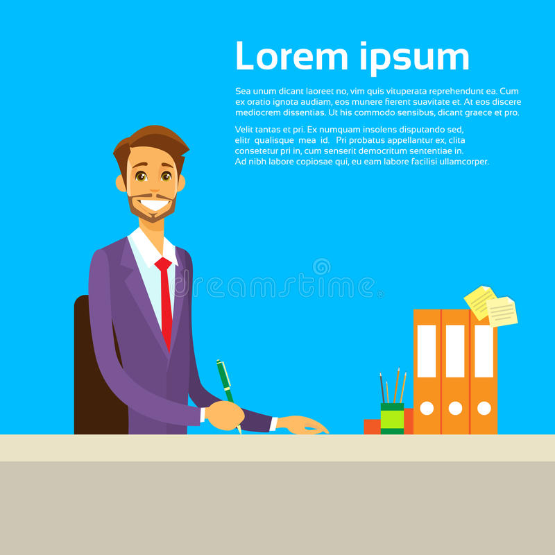 Businessman Working with Documents Sitting at. Office Desk Vector Illustration vector illustration