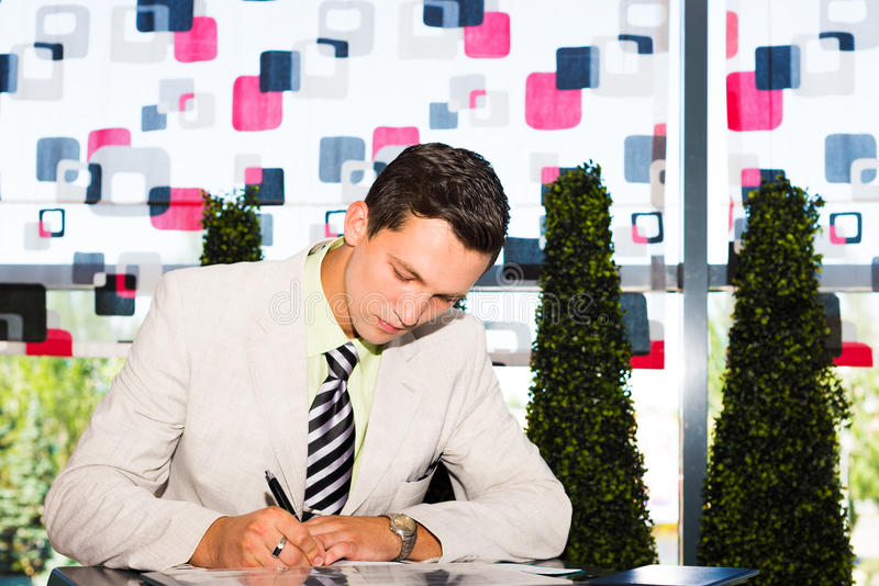 Download Businessman Working With Documents Stock Image - Image: 32164567