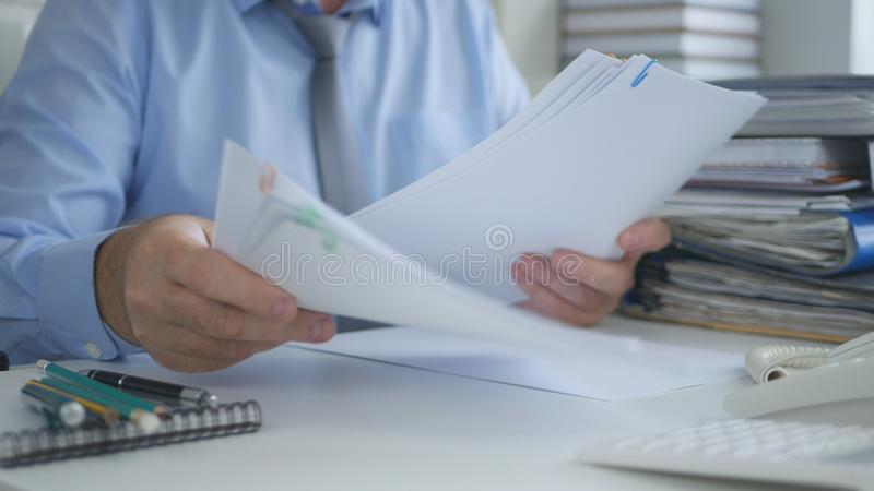 Businessman Working With Financial Documents In Accounting Office stock photos