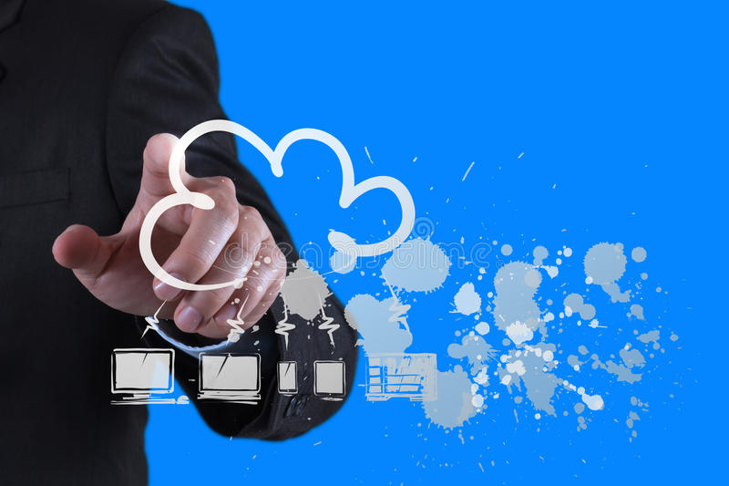 Businessman working. Businessman hand working with a Cloud Computing diagram on the new computer interface as concept royalty free stock image