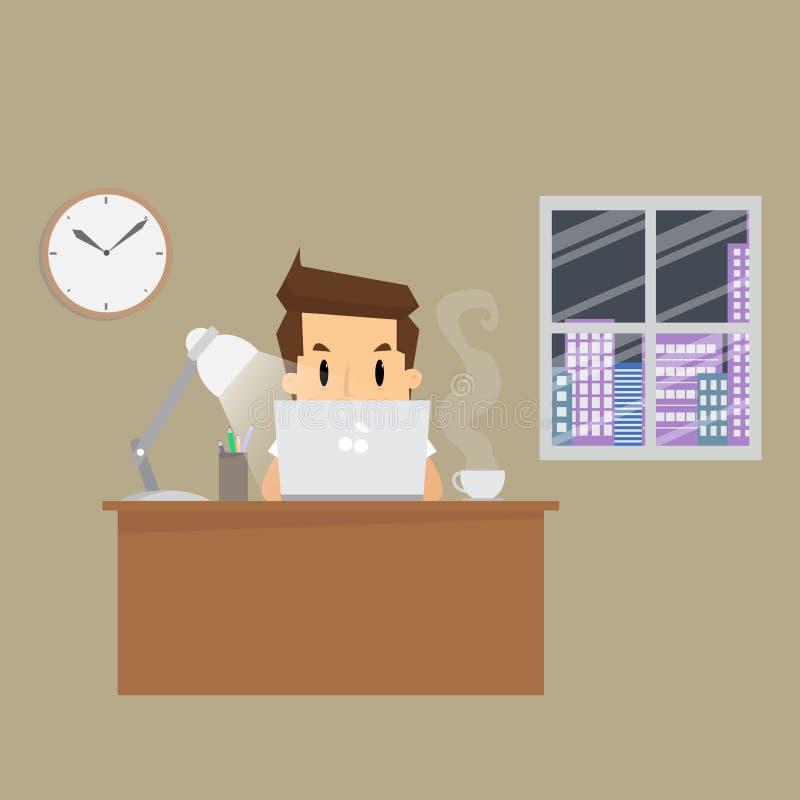 Businessman working hard night in office. Vector vector illustration