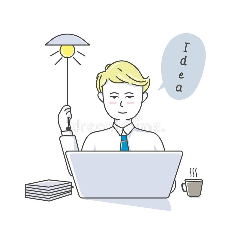 Businessman working at his desk and creating new idea stock illustration