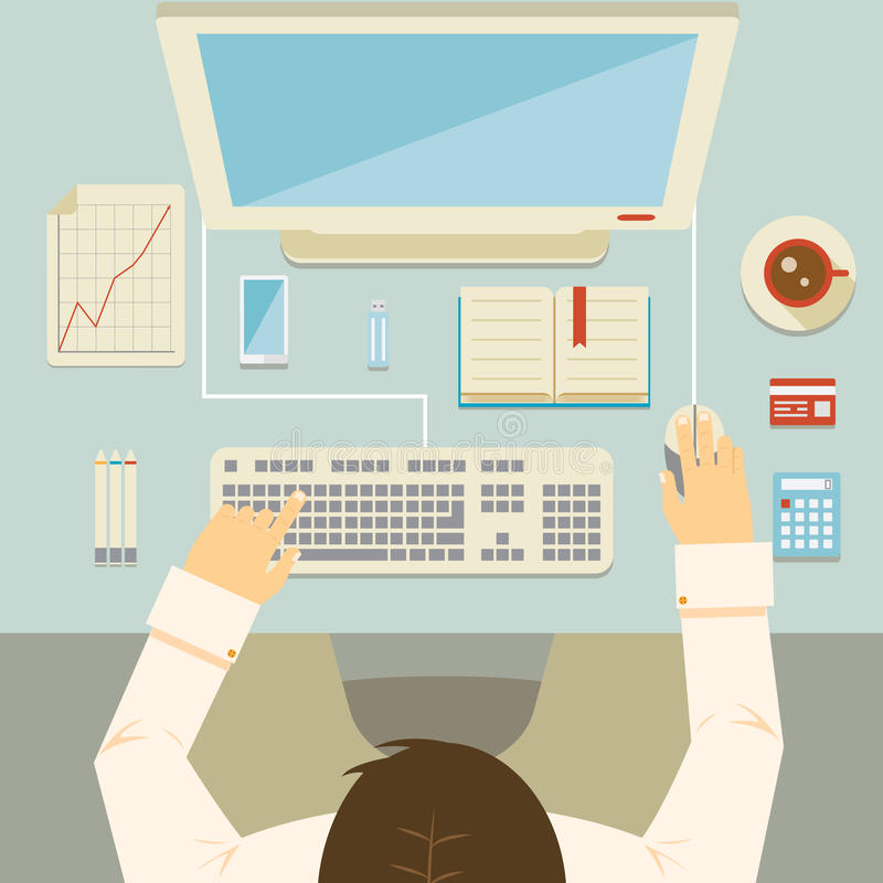 Businessman working at his desk. Overhead perspective of a businessman working at his desk using a desktop computer keyboard mouse bank card graph calculator and royalty free illustration