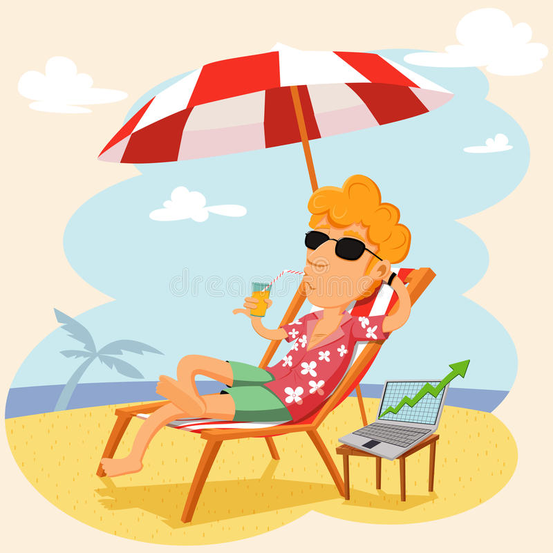 Businessman working with laptop on the beach. Cartoon businessman in a good mood working with laptop on the beach vector illustration