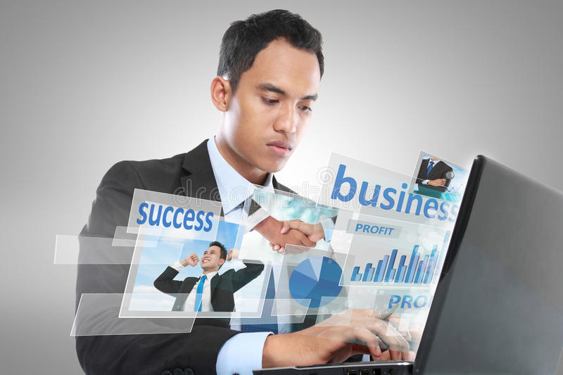 Businessman working on laptop. conceptual image royalty free stock images