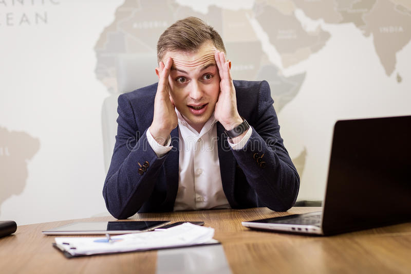 Businessman Working Laptop Connecting Networking Concept,business, people, stress, emotions and fail concept - angry businessman stock photo