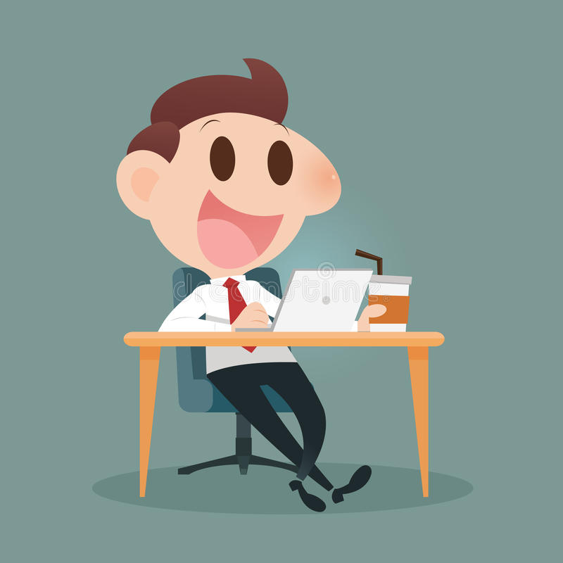 Businessman working. On laptop and drinking coffee royalty free illustration