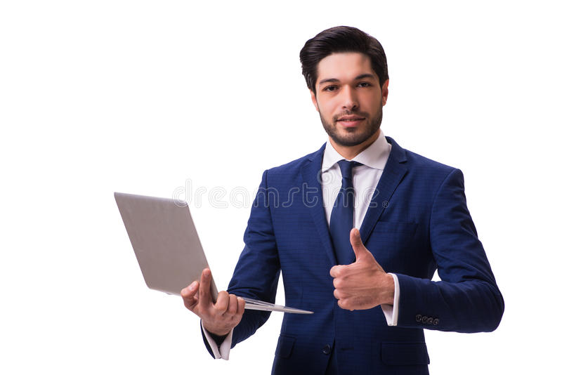 The businessman working with laptop isolated on white stock photos