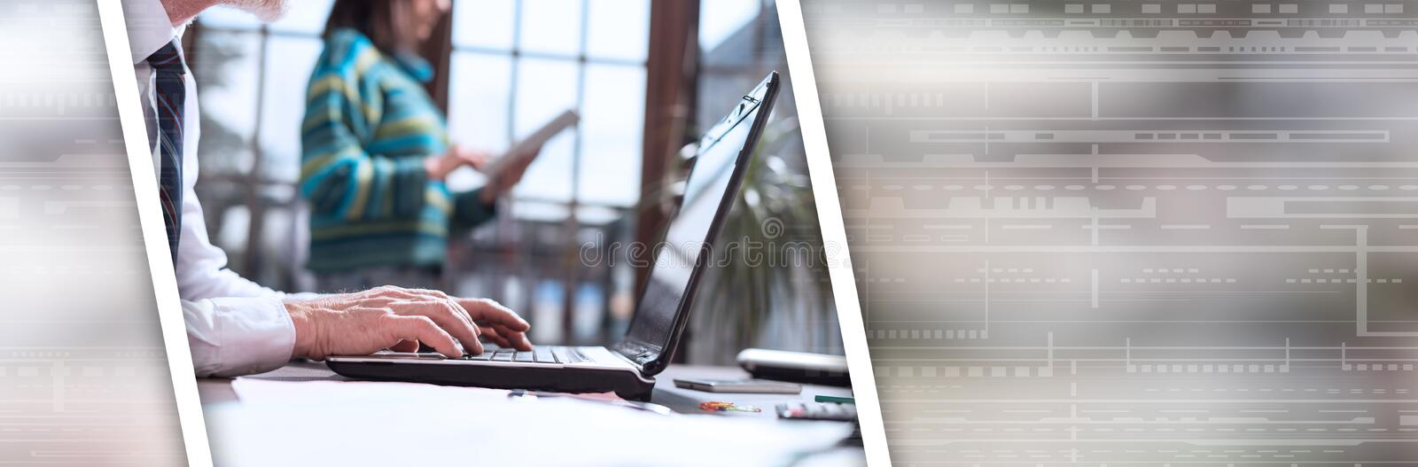 Businessman working on laptop. panoramic banner. Businessman working on laptop in office. panoramic banner royalty free stock images