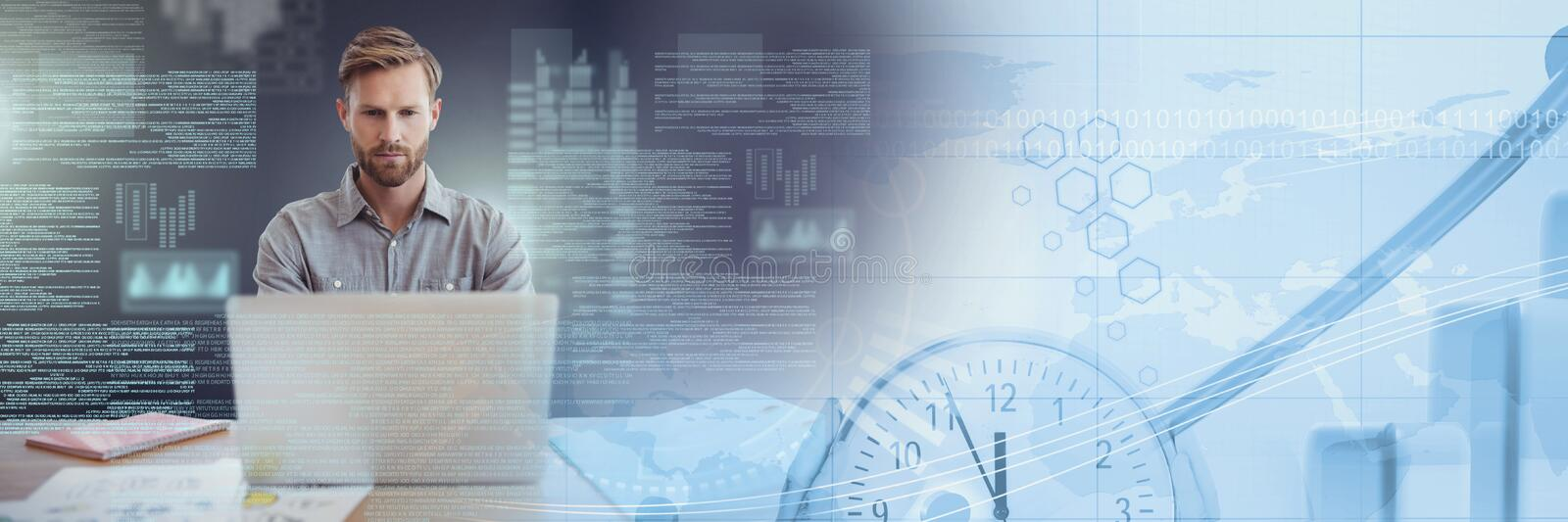 Businessman working on laptop with screen text interface and time transition. Digital composite of Businessman working on laptop with screen text interface and stock photo