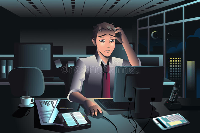 Businessman working late at night in the office. A vector illustration of tired businessman working late at night in the office royalty free illustration