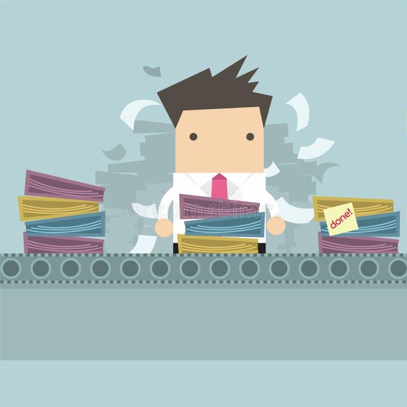 Businessman working Like factory work. Vector vector illustration