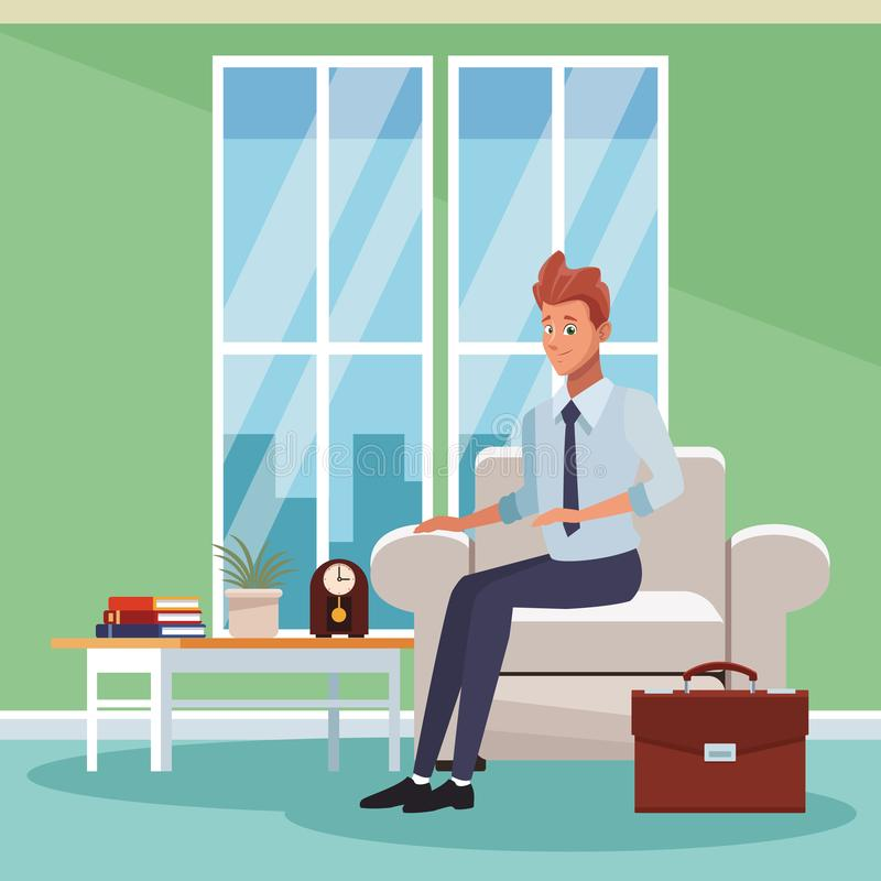 Businessman working cartoon. Businessman working at office cartoons vector illustration graphic design stock illustration
