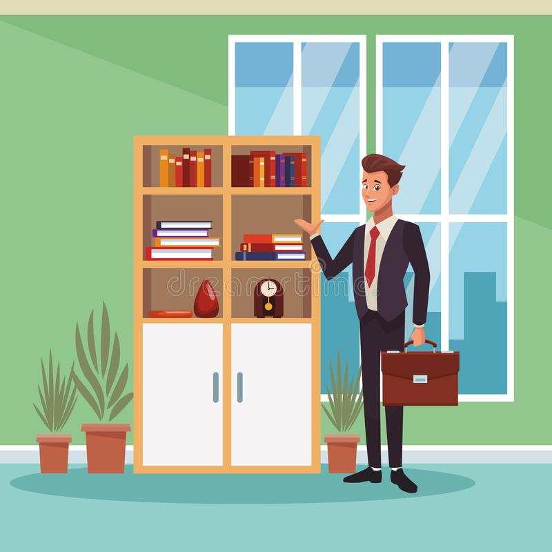 Businessman working cartoon. Businessman working at office cartoons vector illustration graphic design royalty free illustration