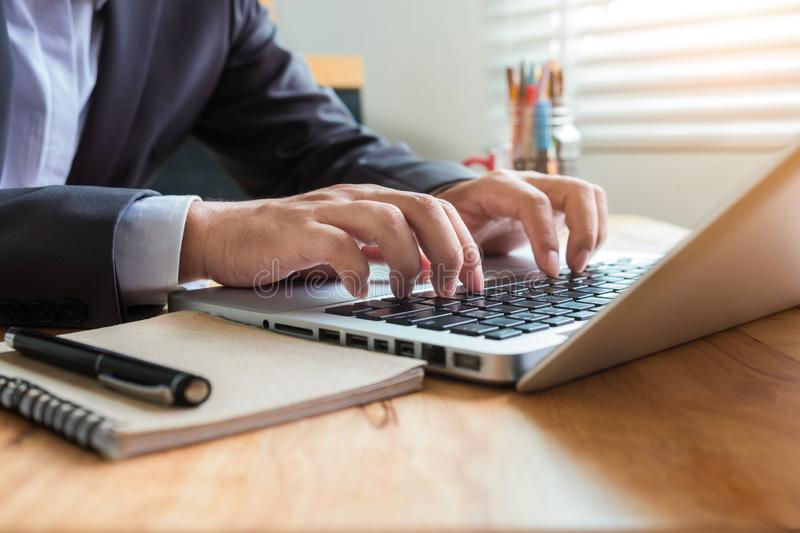 Businessman working at office. stock photos