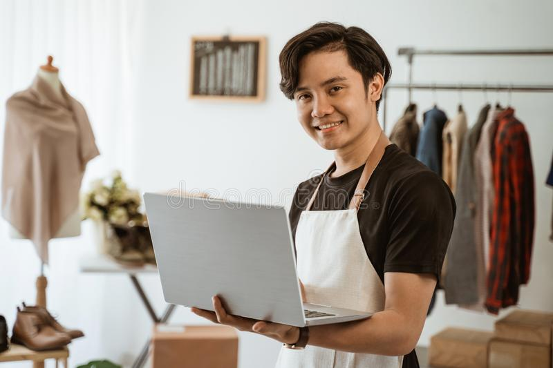 Businessman working at online business store. small ecommerce stock images