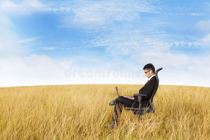 Download Businessman Working Outdoor Stock Image - Image of cloud, office: 25875513