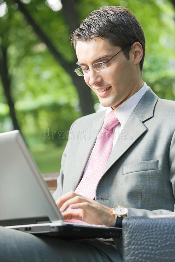 Download Businessman Working, Outdoors Stock Image - Image of outdoor, line: 10698585