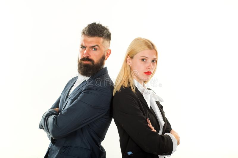 Businessman working together. Businessman isolated - handsome man with woman standing on white background. Business royalty free stock images