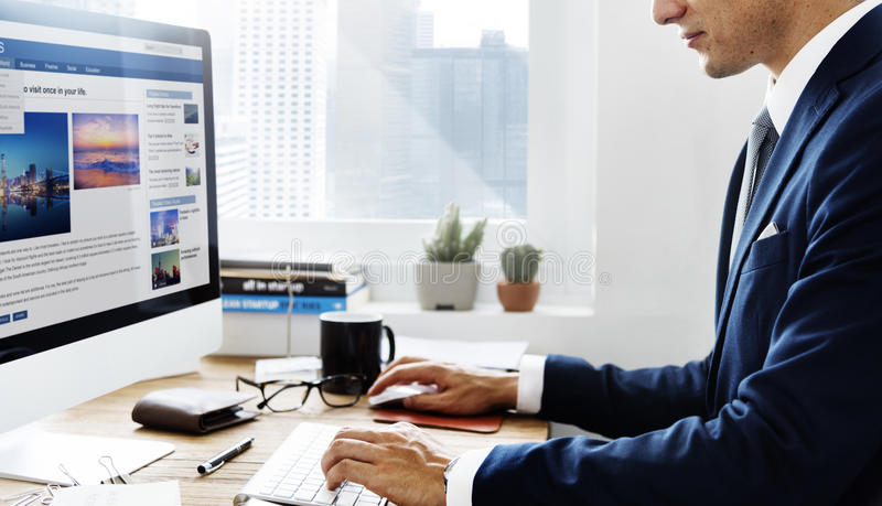 Businessman Working Using Computer Information Concept stock photos