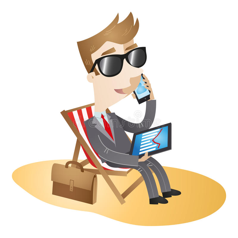 Businessman working vacation beach. Vector illustration of a cartoon character: Businessman sitting in a deck chair on the beach working on vacation, talking on vector illustration