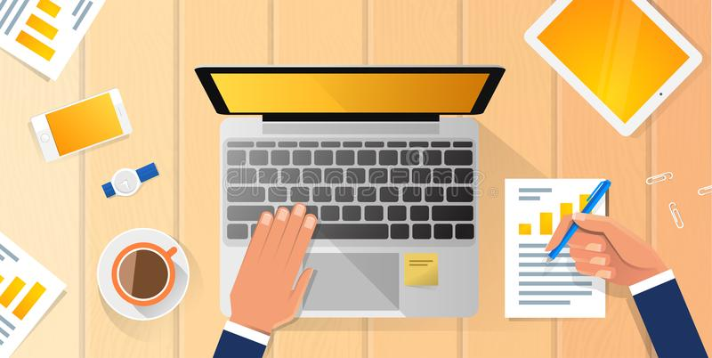 Businessman Workplace Desk Hands Working Laptop Flat Vector Illustration Business Man Top Angle Above View Office royalty free illustration