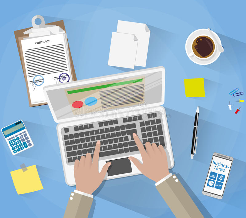 Businessman Workplace Desk. Hands Working Laptop, sticky notes, contract papers, smartphone, calculator, pen, coffee cup. vector illustration in flat design stock illustration