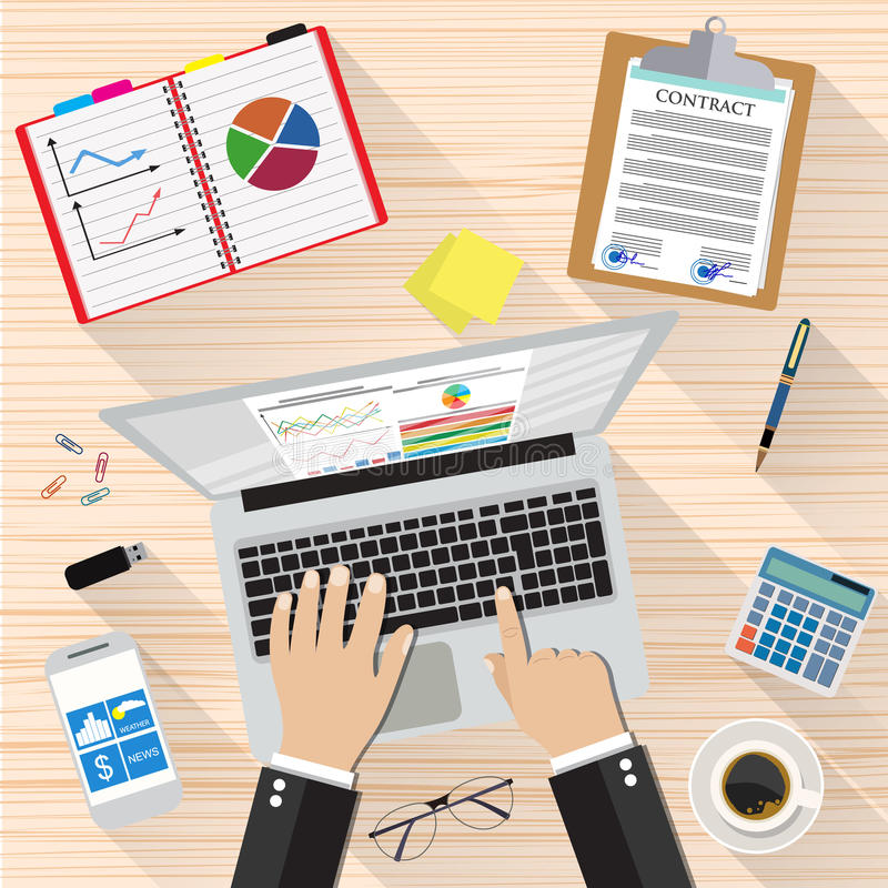Businessman Workplace Desk. Hands Working Laptop, sticky notes, contract papers, smartphone, calculator, pen, coffee cup. vector illustration in flat design vector illustration