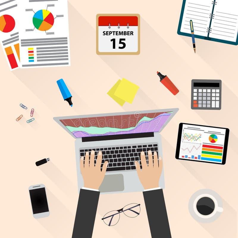 Businessman Workplace Desk Hands Working Laptop. Businessman work witn Financial Statement with chart and graph. Businessman Workplace Desk. Vector illustration royalty free illustration