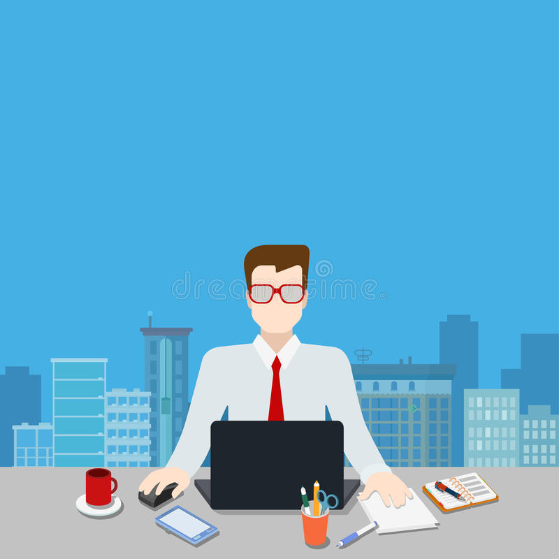 Businessman workplace modern city background template mockup. Businessman on workplace over modern city blank background template mockup concept flat 3d web stock illustration