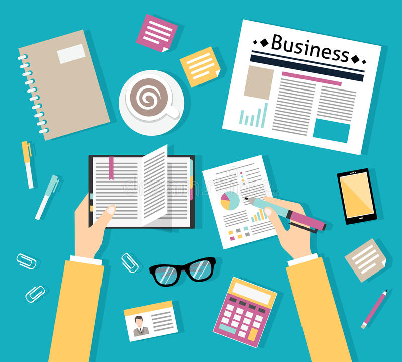 Businessman workplace top view royalty free illustration