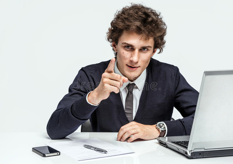 Businessman at the workplace working with computer stock images