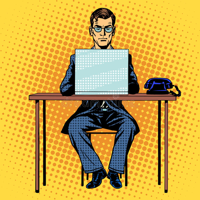 Businessman works behind laptop stock illustration