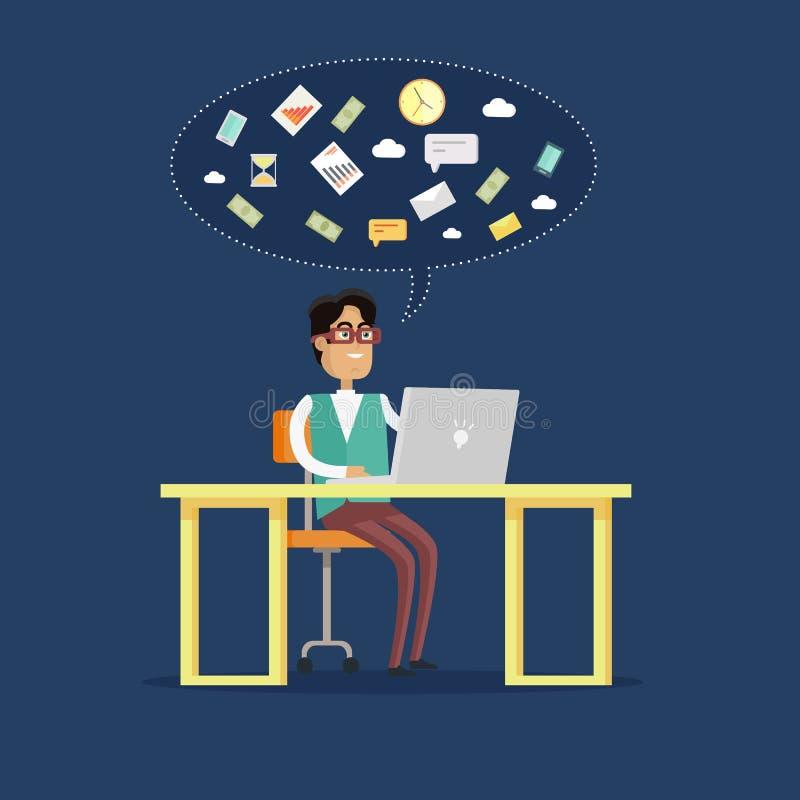 Businessman Works on His Laptop stock illustration