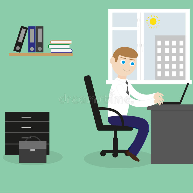 Businessman works with the laptop royalty free illustration